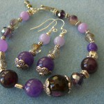2014 Purple Pandora Coni Style Bracelete and Earrings